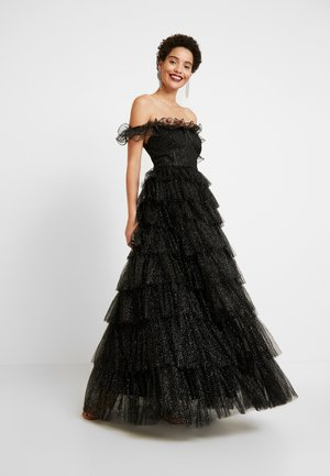 GLITTER BARDOT MAXI DRESS WITH TIERED SKIRT - Gallakjole - black