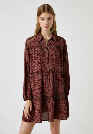 Shirt dress - mottled brown