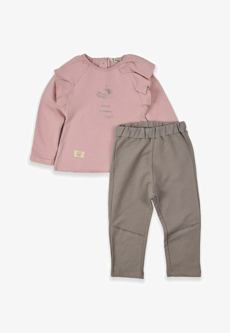 Cigit - Leaf Printed Detailed Two Piece Set (1 to 5 years) - Trousers - powder pink