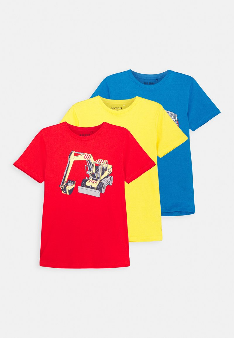 Blue Seven - BOYS DIGGER FIRETRUCK PACK 3 - T-shirt z nadrukiem - red/blue/yellow