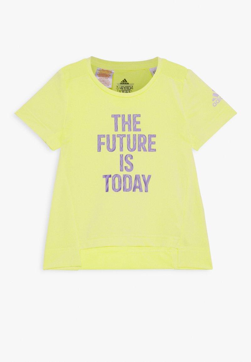 adidas Performance - TEE - T-shirt con stampa - yellow/white