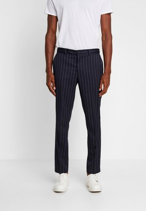 SLHSLIMTAPE RECO STRIPE PANTS - Trousers - dark navy