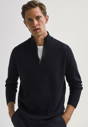COTTON/SILK MOCK - Sweatshirt - blue-black denim