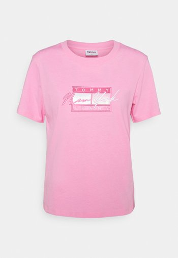 REGULAR EMBROIDERED FLAG TEE - T-shirt con stampa - pink daisy