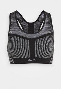 Nike Performance - FE/NOM FLYKNIT BRA - Medium support sports bra - black/white - 4
