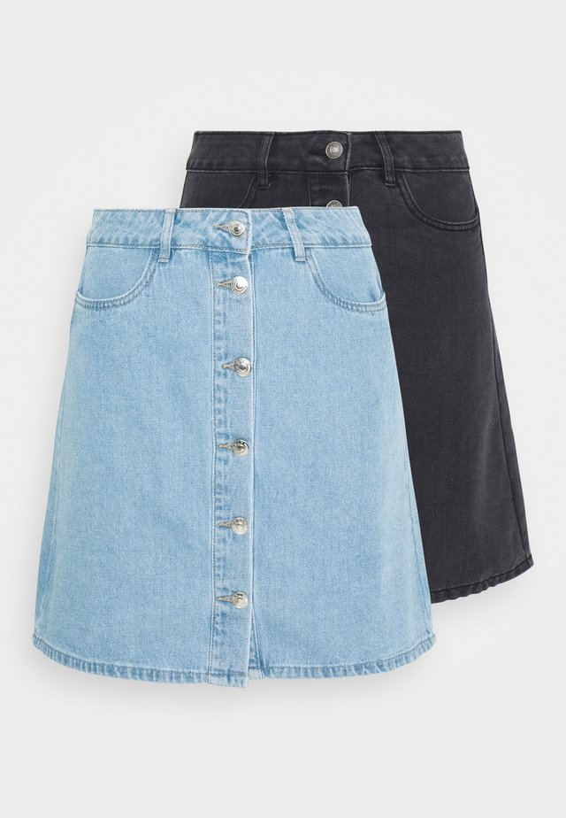 ONLFARRAH SKIRT 2 PACK - Spódnica trapezowa - light blue denim/black