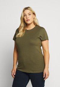 Even&Odd Curvy - Basic T-shirt - olive night - 0