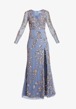 LONG SLEEVE ALL OVER EMBELLISHED DRESS - Ballkleid - blue/bronze