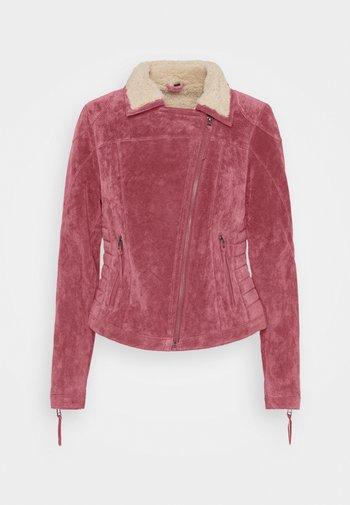 TEDDY STAR  - Leather jacket - biking red/birch