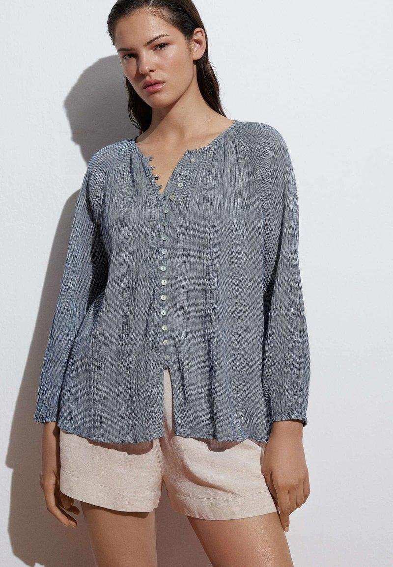 OYSHO - Button-down blouse - dark blue