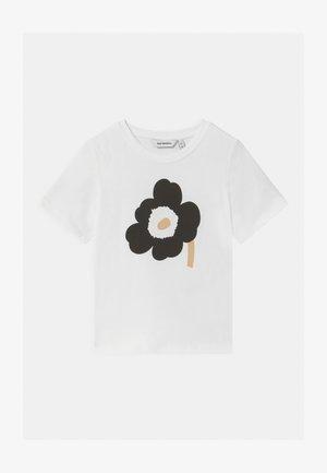 SOIDA UNIKKO - T-shirt imprimé - white/black/beige