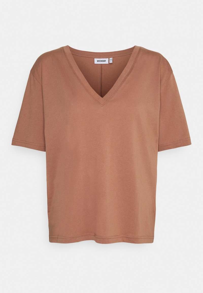 Weekday - LAST V NECK - Jednoduché triko - brown