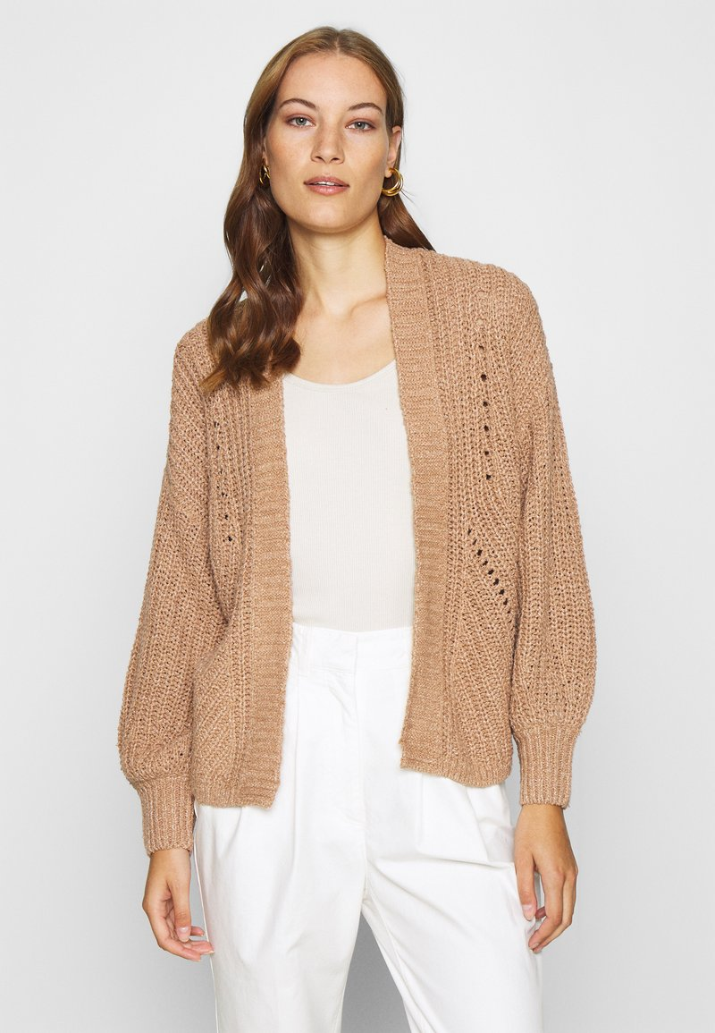 Abercrombie & Fitch - PUFF SLEEVE CARDI - Cardigan - brown