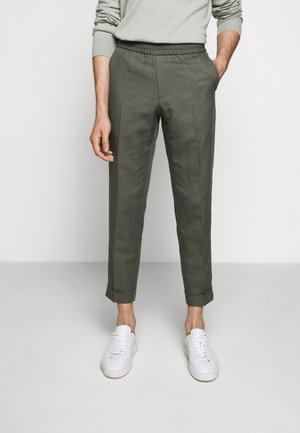 TERRY CROPPED SLACKS - Stoffhose - green grey