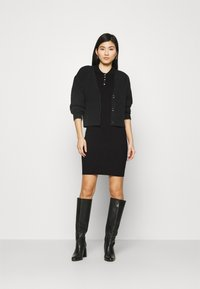 Anna Field - QUARTER SLEEVES POLO MINI DRESS FITTED - Shift dress - black - 1