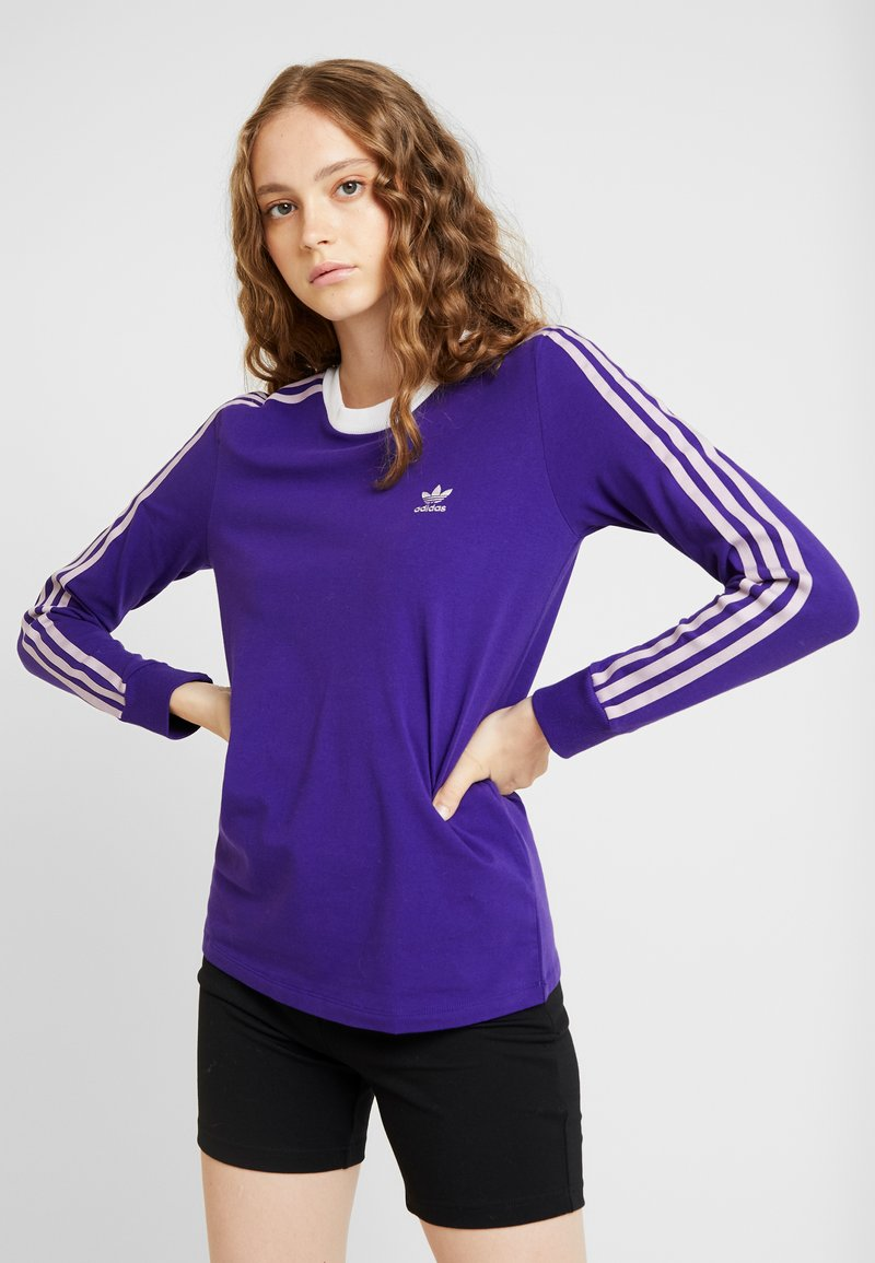 adidas Originals - ADICOLOR 3 STRIPES LONGSLEEVE TEE - Bluzka z długim rękawem - collegiate purple