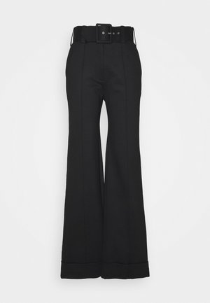 BELTED JERSEY TROUSER - Kalhoty - black