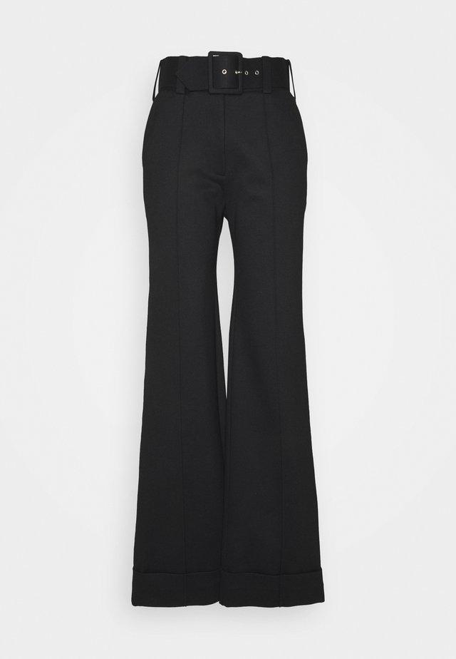 BELTED JERSEY TROUSER - Pantalon classique - black