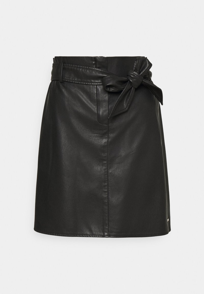 TOM TAILOR DENIM - BELTED MINI SKIRT - Mini skirt - deep black