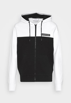 COLOR BLOCK ZIP THROUGH HOODIE - Hoodie met rits - black/white