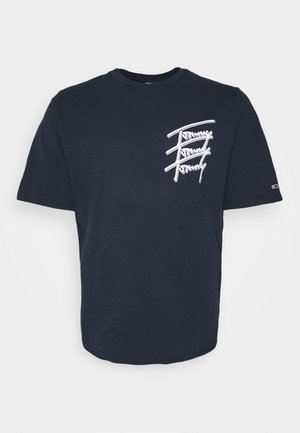 REPEAT SCRIPT TEE - Print T-shirt - twilight navy