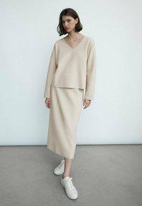 Massimo Dutti - Pencil skirt - beige - 0