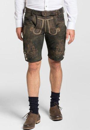 MAXIM - Leather trousers - dark brown