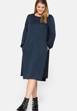 Jersey dress - blau gemustert