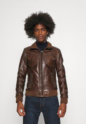 TORNADE - Leather jacket - mocca