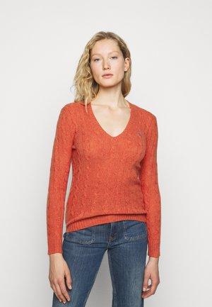 Strickpullover - orangey red