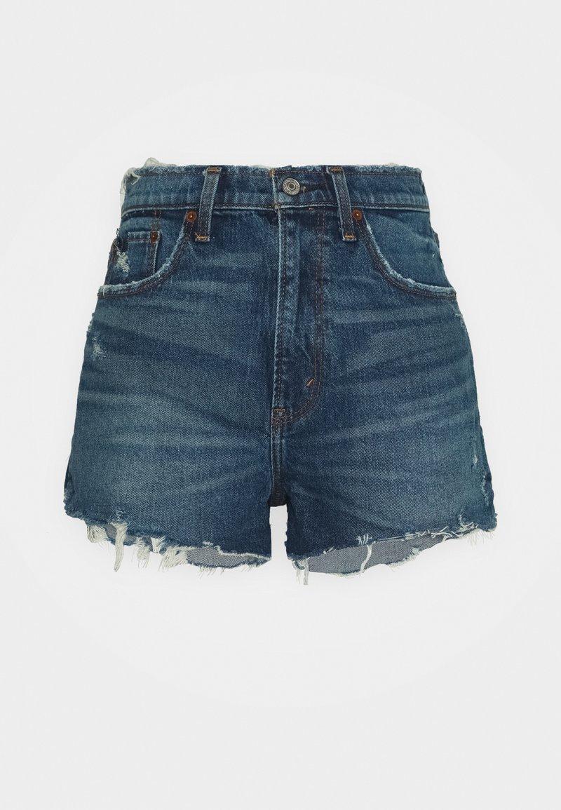Abercrombie & Fitch - MOM CHEWY - Denim shorts - dark-blue denim