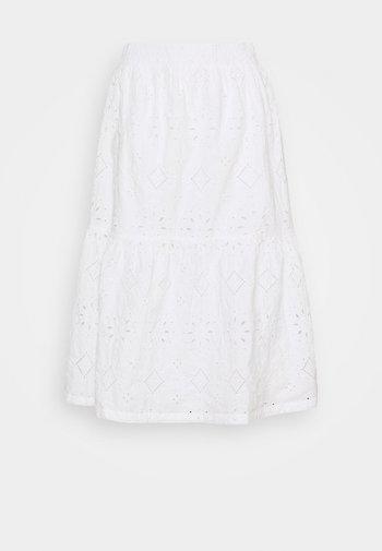 EYELET MIDI SKIRT - A-line skirt - fresh white