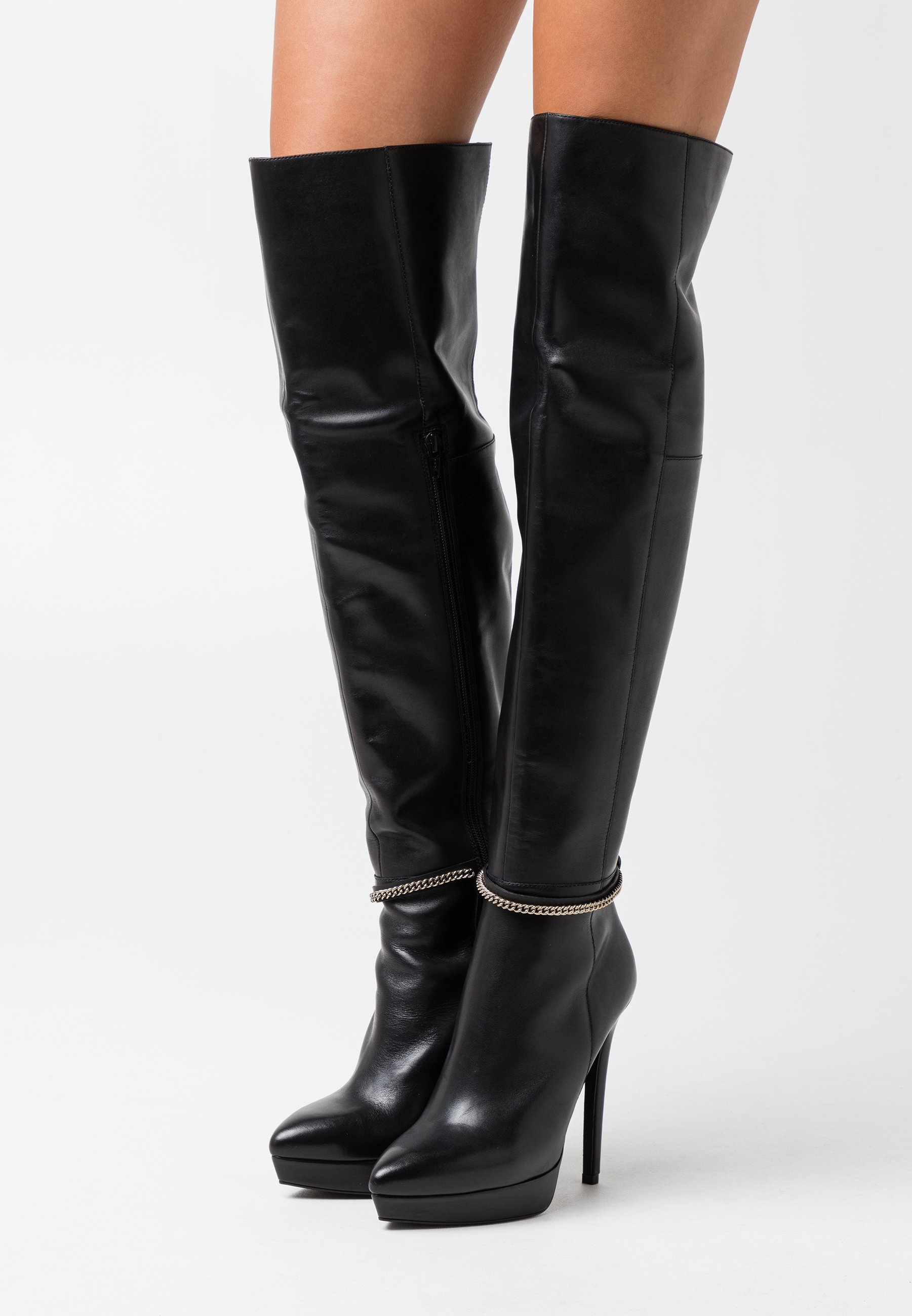 Women LEATHER - High heeled boots - black