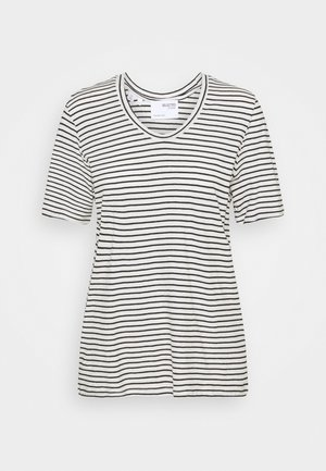 SLFBELIVE TEE - Print T-shirt - snow white/black