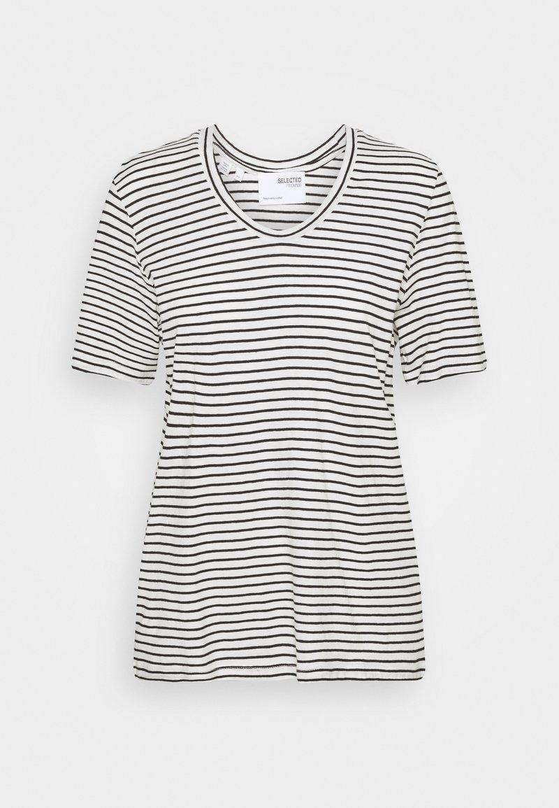 Selected Femme - SLFBELIVE TEE - Print T-shirt - snow white/black