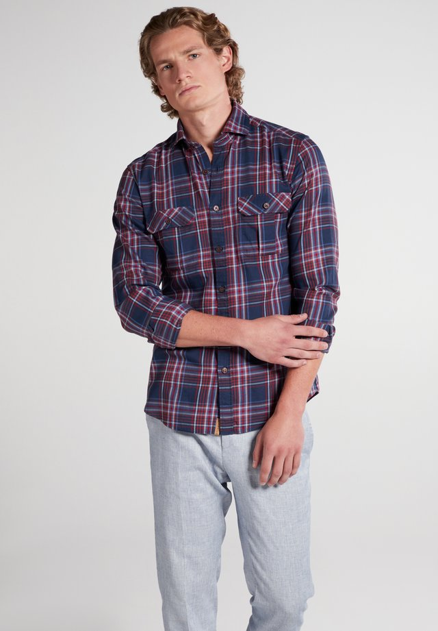 SLIM FIT - Shirt - rot/dunkelblau