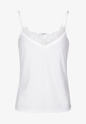 VEST TOP WITH THIN STRAPS AND LACE - Top - off-white