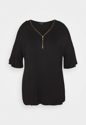 ZIP FRONT  - Print T-shirt - black