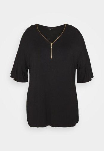 ZIP FRONT  - Print T-shirt - black