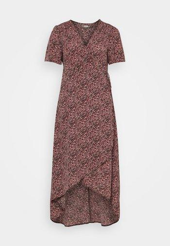 PLUS WRAP MIDAXI DRESS FLORAL - Robe d'été - black