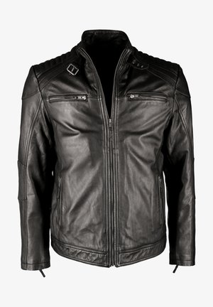 MIT STEHKRAGEN IK3 - Leather jacket - black