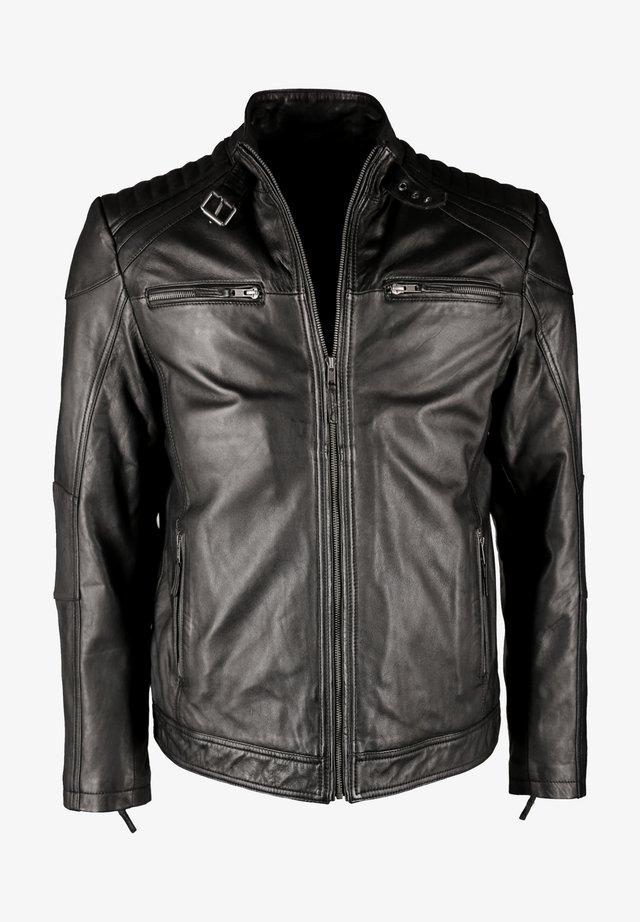 MIT STEHKRAGEN IK3 - Leather jacket - black