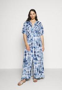 Lauren Ralph Lauren Woman - NIKLOS SHORT SLEEVE CASUAL DRESS - Maxi dress - blue - 0