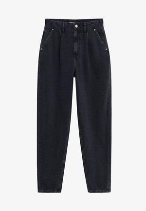 MIT BUNDFALTEN - Flared Jeans - black denim