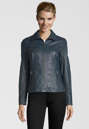 BEMANDA - Leather jacket - petrol