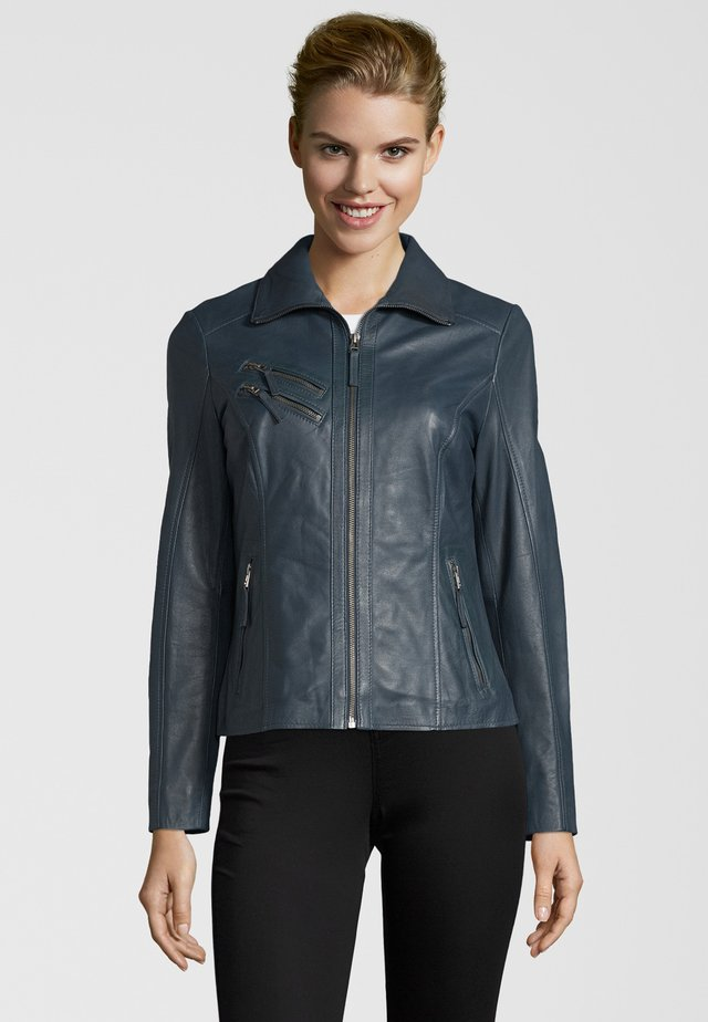 BEMANDA - Leather jacket - petrol