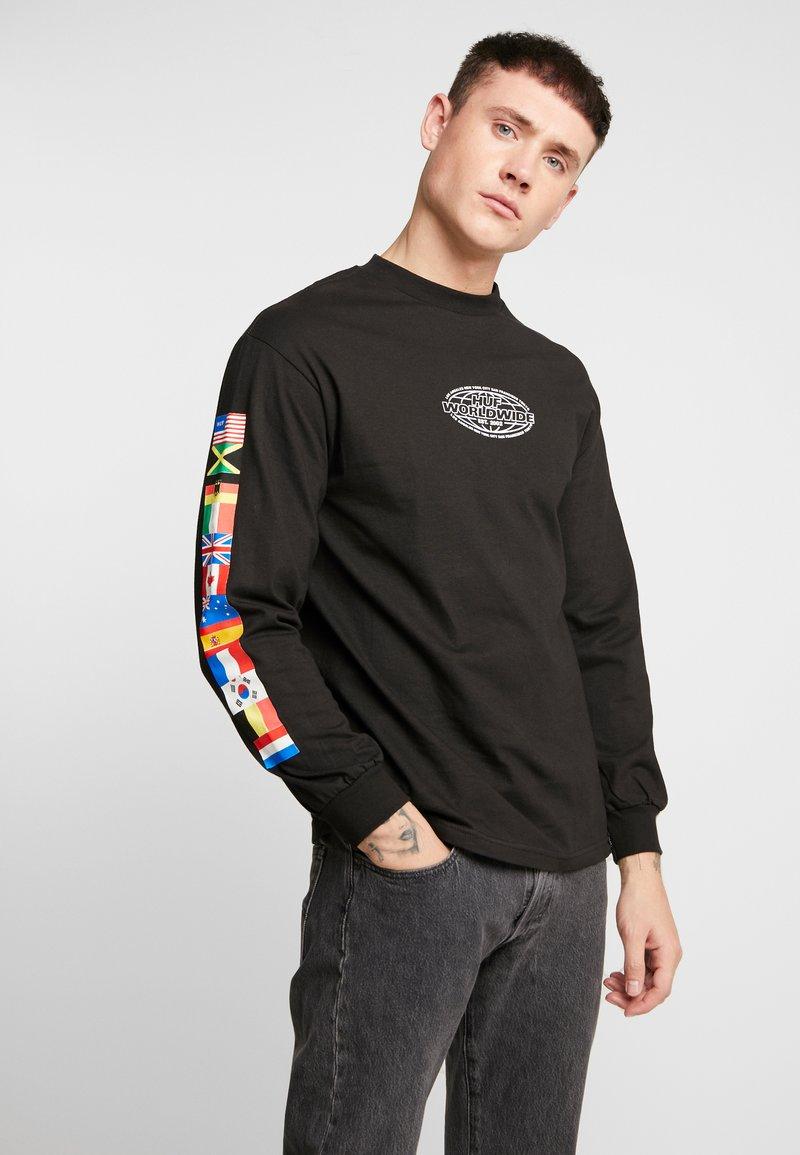 HUF - WORLD TOUR TEE - Long sleeved top - black