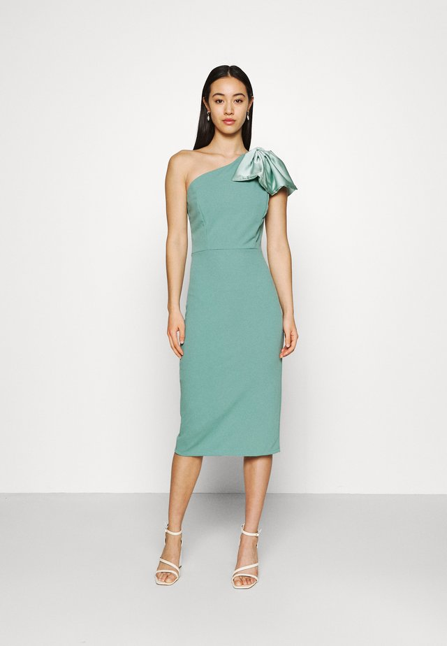 KASSIE BOW DETAIL MIDI DRESS - Jerseyjurk - sage green