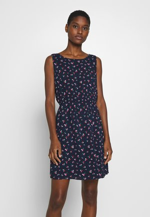PRINTED DRESS WITH BACK STRAP - Robe d'été - navy