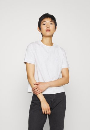 EMBROIDERY TIPPING TEE - Print T-shirt - white/grey heather